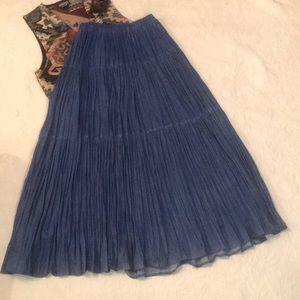 EUC New Frontier Maxi Denim Crinkle Skirt- L